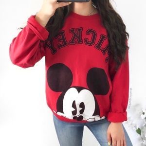 Red Mickey Mouse crewneck sweater